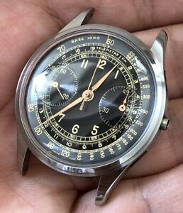 Vintage Chronograph Valjoux 22 All Steel - Black Dial - Rare - 36mm