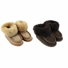 Kinder Hüttenschuhe Warme Lammfellschuhe Leder Hausschuhe mit Ledersohle Winter