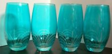 "Vintage Set of (4) Aqua Cut To Clear Glass Tumblers 6"" x 2.75"" Excellent Cond"
