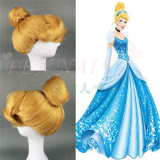 CINDERELLA Yellow Styled Women Party Cosplay Wig Blonde Buns Styled Full Wigs