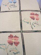 Vintage Handmade Afghan Throw Blanket Camel Multi-Color Needlepoint Squares