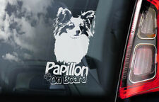 Papillon Car Sticker, Phalène Toy Dog Window Bumper Sign Decal Gift Pet - V02