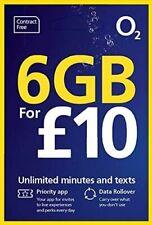 O2 02 sim card £10 bundle 6gb data unlimited minutes & texts TRIPLE cut sim card