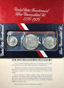 1976 Silver US Mint 3-Piece Bicentennial Uncirculated Set ($1, Half, Quarter)