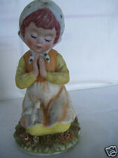 """Antique Enesco Clasp Hands Praying Child With Peace Dove 6.5"""" Tall Figurine"""