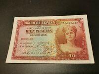 BILLETE DE 10  PESETAS  DE  LA  REPUBLICA  ESPAÑOLA    (  EBC -  )  SERIE  A