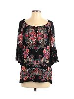 Bila Women's Blouse Top Size Small Black Red Pink Floral Tie Neck Bell Sleeve