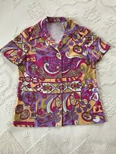 Vintage 1960s Short Sleeve Button Down Psychedelic Handmade Women's Sz L