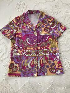 Vintage 6070/'s Women/'s buttondown wblouson sleeves Hippie Flower Power \u2013 come on get happy! Psychedelic Blouse