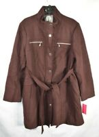 Vince Camuto Women's XXL Plus Size Belted Wool Coat Winter Jacket, Maroon, NwT