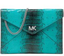 New With Tags MICHAEL KORS Barbara Med Soft Envelope Clutch Tile Blue