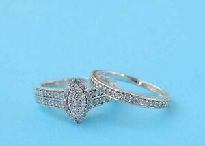 Genuine Diamond Marquise Cluster Wedding Set w/ 79 Diamonds - Sterling Silver