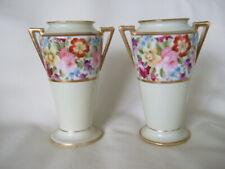 Pair antique hand painted gilded Nippon Morimura china vases classic floral