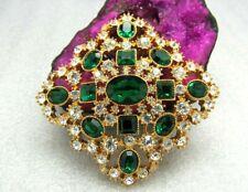 Vintage Joan Rivers Emerald Maltese Swarvoski Crystal Brooch Pin Collectors Item