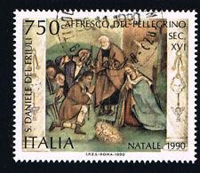 ITALIA 1 FRANCOBOLLO NATALE L'ADORAZIONE DEI PASTORI 1990 usato