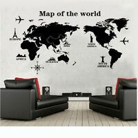 DIY World Map Removable Vinyl Quote Art Wall Sticker Decal Mural Decor Tide