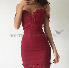 UK Womens Bodycon Bandeau Dress Ladies Lace Plunge NightOut Mini Dress Size 6-14