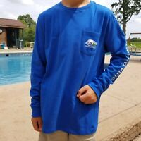Vineyard Vines Boy XL Yacht Blue Send It Whale Long Sleeve Graphic Shirt