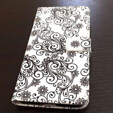 iPhone 7+ / 8+ PLUS - Black Swirl Flower Card ID Money Wallet Diary Holder Case