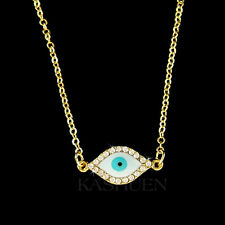 Evil Eye made with Swarovski Crystal Jewish Judaism Guardian Gold Tone Necklace