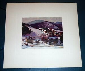 Vintage Aldro T Hibbard Print, Listed Rockport MA Artist A T VT Winter Landscape