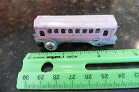 Mini Train passenger car tiny pink tin toy box car Japan Vintage