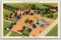 McKinney Texas~Lane's Tourist Court Birdseye~Motel Cottages~Carport~1944 Linen