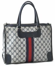 Authentic GUCCI Sherry Line Hand Bag GG PVC Leather Navy A5479