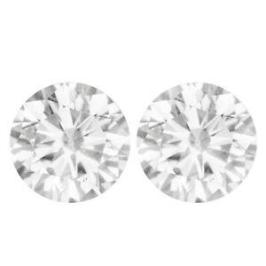 1.74 TCW PAIR 6.20MM VVS1 White H-I MOISSANITE Sub to DIAMOND for Stud EARRINGS