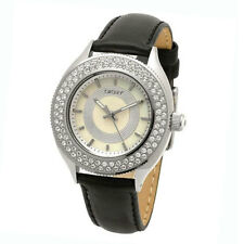 8c749ed4fe917 DKNY Watch NY4403 Black leather band Silver case with crystals Women s