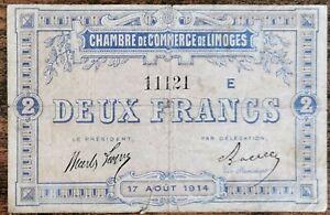 Billet 2 francs Chambre de Commerce Limoges - 1914 - nécessité - série E