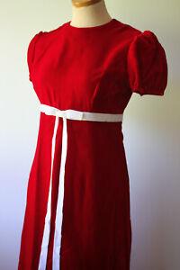 Vintage Red Soft Velvet Handmade Long Christmas Dress Woman's White Ribbon