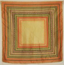 """TERRIART Peach, Green Box Stripes SILK 26"""" Square Scarf-Vintage A.KLEIN"""