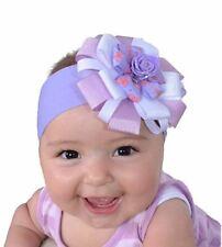 Baby Headband, Girl's Hairband Purple & Pale Pink with Purple Flower