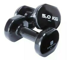Rubber Pair of 5kg Dumbbells Gym Aerobics Home Weight Slim Tone
