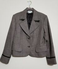 Harve Benard Sport Woman Brown Tweed 100% Wool  Jacket Leather Trim, Size 14
