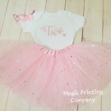 Girls 2nd Birthday Outfit Tutu Rose Gold & Pink Cake Smash TWO Dress Top Vest