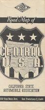 1943 CSAA Road Map CENTRAL UNITED STATES Route 66 Texas Oklahoma Illinois Kansas