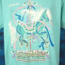 vintage 80s NASHVILLE TENNESSEE CAROUSEL HORSE T-Shirt LARGE/XL cartoon thin