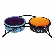Trixie 24791 Eat On Feet Ceramic Bowl Set, Light Blue/Orange/Purple - 0.6L
