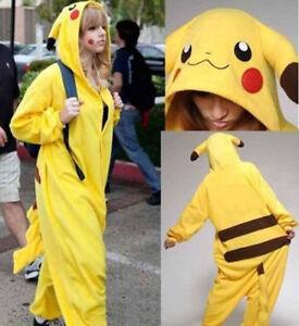 Unisex Costume de Pikachu pour Enfant Adulte Cosplay Pyjama Animal