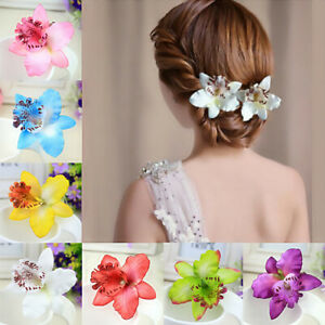 Butterfly Orchid Flower Hair Clip Slide Grip Vintage Pinup Rockabilly Hawaiian