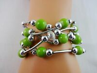 Five strand bracelet green silver clear crystal beads stretch Icon Collection