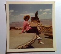 Vintage 70s Photo Cute Asian Woman At The Grand Canyon Arizona White Sandals