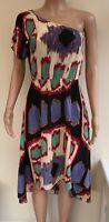 Warehouse Cream Blue Red Green Multi Dress Size 8  #R1