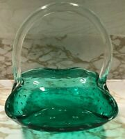 Vintage Green Hand Blown Art Glass Basket Candy Dish Applied Clear Handle
