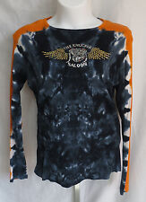 Twin Motorcycle Apparel Womens Size 2XL Long Sleeve Tye Dye Embeleshed Shirt Top