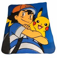 Nintendo Pokemon Fleece Throw Blanket Ash & Pikachu Next Tournament 50x40 Clean!