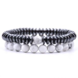 Distance Bracelets For Lovers Couples Matching Gift Matte Agate 8mm Bead Stone