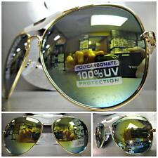 CLASSIC VINTAGE RETRO Style SUN GLASSES SHADES Gold & White Frame Mirror Lens